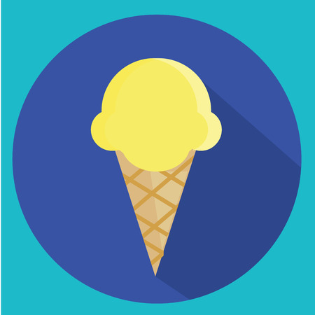 Ice cream cone vector icon with long shadow. Vector illustration Illustration