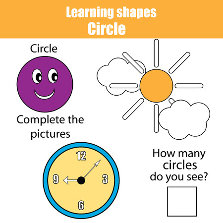 Educational children game, kids activity. Learning geometry shapes. Circle