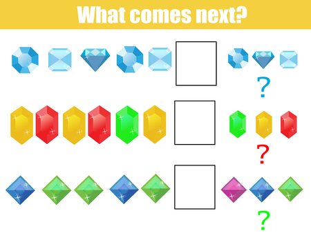 l�gica: What comes next educational children game. Kids activity sheet, training logic, continue the row task Vectores
