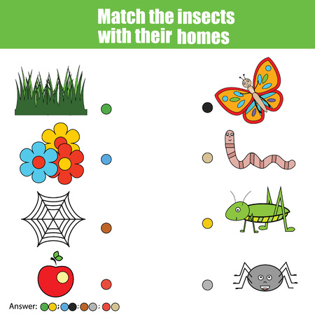 Match the insects with homes children education game. Learning animals, insects theme kids activity