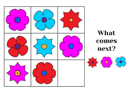 logic: What comes next educational children game. Kids activity sheet, training logic, continue the row task Illustration