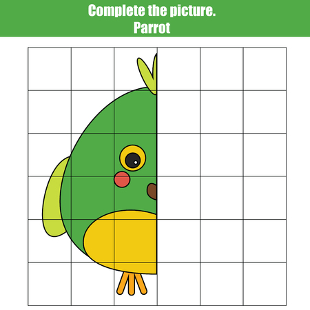 Grid copy game, complete the picture children game, coloring page with parrot. Kids activity sheet