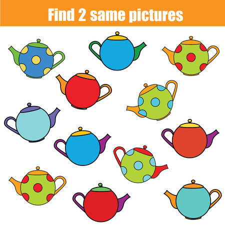 Find the same pictures children educational game. Find equal pairs kids activity