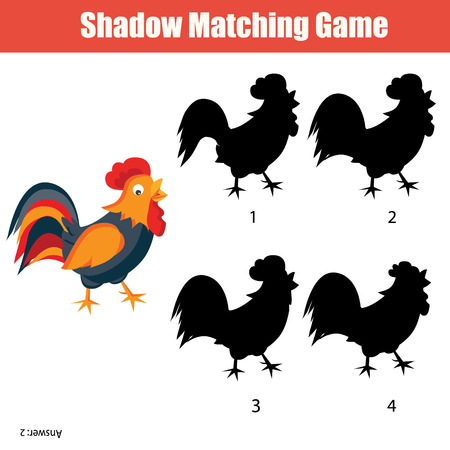 developmental: Shadow matching game for kids. Find the right shadow for rooster