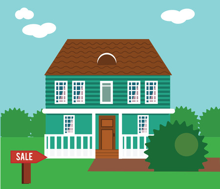 Real estate on sale. House, cottage, townhouse, mansion vector illustration with sail sign in yard