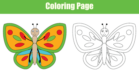 Coloring page with butterfly drawing game for children. Copy colors coloring book kids activity
