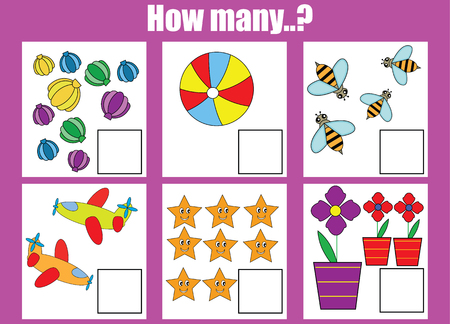 Counting educational children game. How many objects task. Learning mathematics, numbers, addition theme Vectores