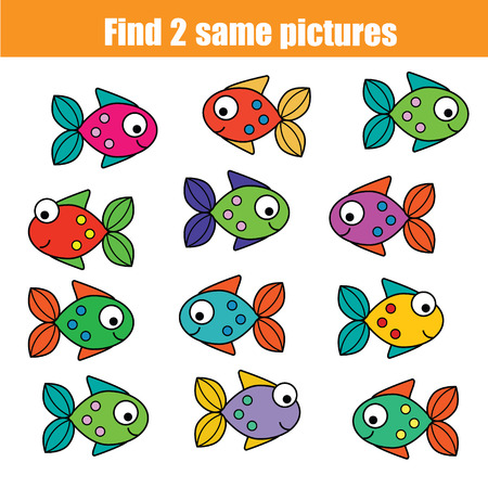 developmental: Find the same pictures children educational game. Find equal fish kids activity