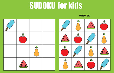 logica: Sudoku game for children with pictures. Kids activity sheet. Training logic, educational game