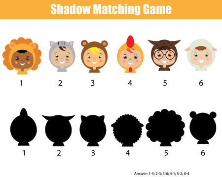 Shadow matching game for children. Find the correct shadow kids activity for preschool and school age