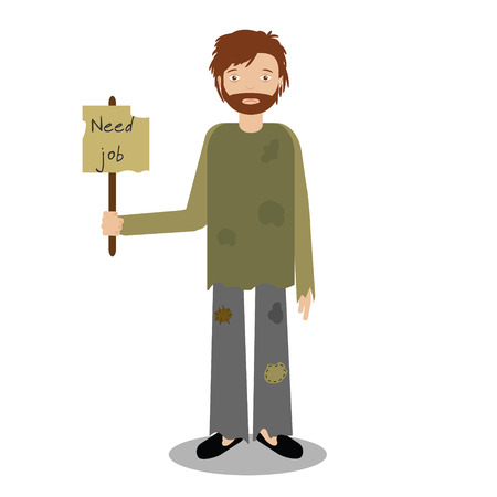 miserable: Homeless man begging for job. Vector illustration of beggar character