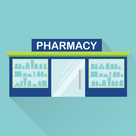 citylife: Pharmacy, drugstore, medical store, front view. Vector icon with long shadow