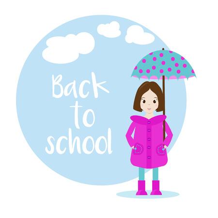 cartoon school girl: Cartoon girl character with umbrella. Back to school vector illustration. Background, banner Illustration