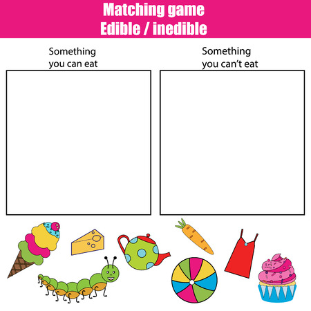 inedible: Edible inedible educational children game, printable kids activity sheet Illustration