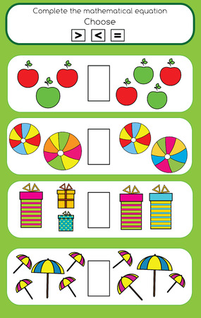Mathematics educational game for children. Learning counting and algebra kids activity. Complete the mathematical equation task, choose more, less or equal Иллюстрация