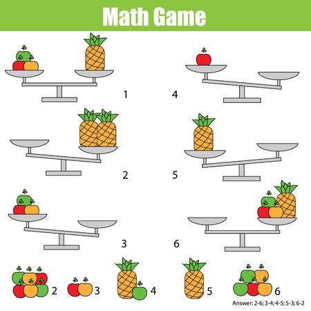 equation: Mathematics educational game for children. Balance the scale. Learning counting, mathematical equation, weights and algebra Illustration