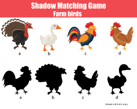 gobbler: Shadow matching children educational game. Find the right shadow task for kids. Find the correct shadow for farm birds Illustration