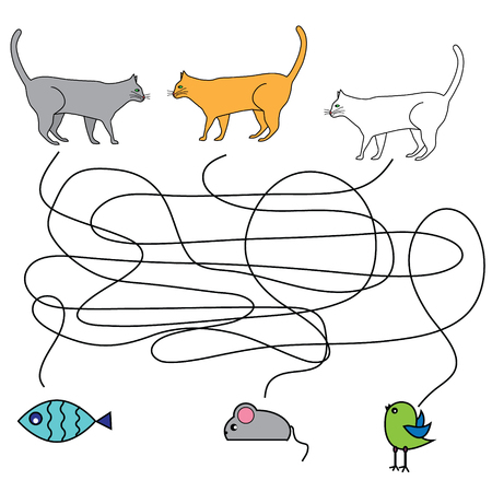 developmental: Matching children game, maze kids activity. Help the cats hunting Illustration