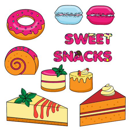 swiss roll: Sweet baked snacks. Isolated hand drawn cakes and pastry vector illustration. Macarons, swiss roll, donut, cheesecake