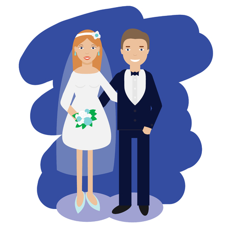 bachelorette: Wedding couple. Bride and groom smiling pair in wedding dress code. Vector illustration Illustration