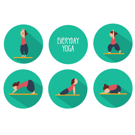 Simple yoga poses for beginners. Five poses that everyone can do. Isolated vector icons set Illustration