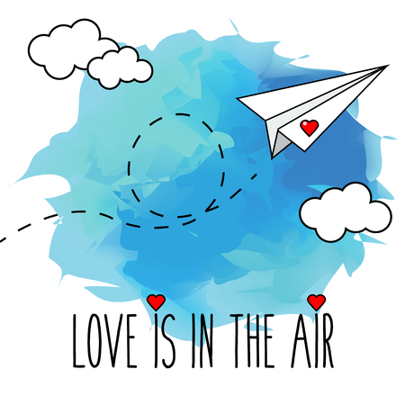 Flying hand drawn paper plane vector illustration. Romantic, valentine card. Love is in the air Illustration
