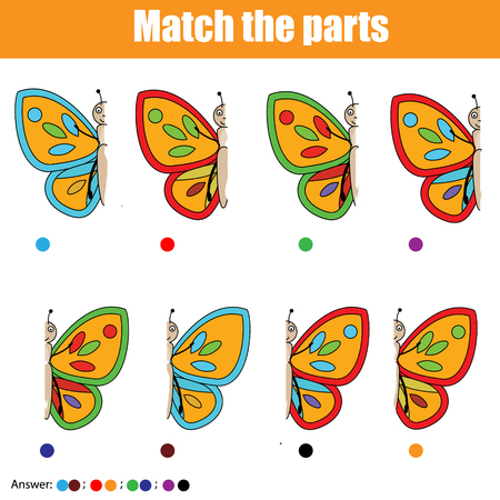 Matching game for pre school age. Match the butterfly parts vector illustration