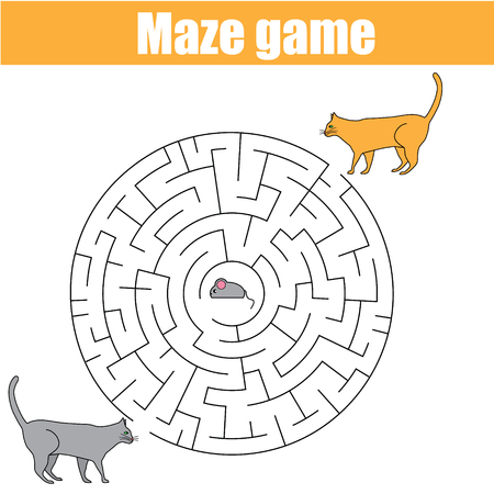 developmental: Matching children game, maze kids activity with cats and mouse. Who catch a mouse