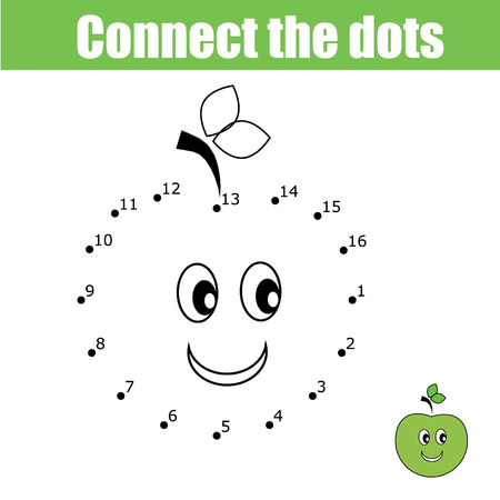 Connect the dots educational drawing children game. Dot to dot numbers activity for kids. Preschool age