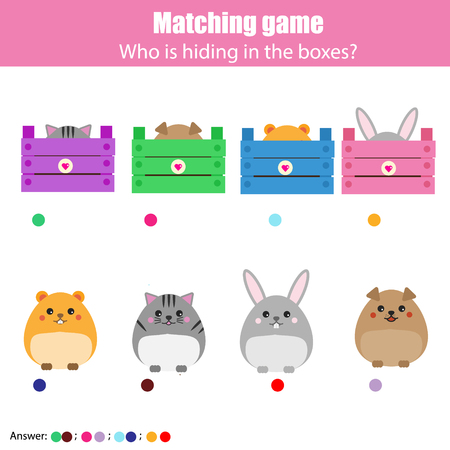 match box: Match the animals with box children education game. Learning animals theme kids activity Illustration