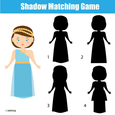 matching: Shadow matching game for children. Find the right, correct shadow task for kids preschool and school age