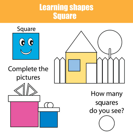 Educational children game. Learning geometric shapes. Square