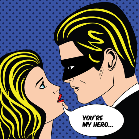 husband and wife: Man in black superhero mask and woman in retro pop art comic style. Love couple with speech bubble