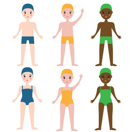 children swimming: Children swimming sport team. Boys and girls in swimming clothes. Kids sport theme