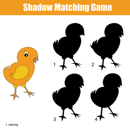 developmental: Shadow matching game for kids. Find the right shadow for chicken