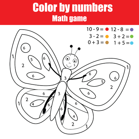 Coloring page with butterfly. Color by numbers educational children game, learning mathematics kids activity, printable sheet Иллюстрация