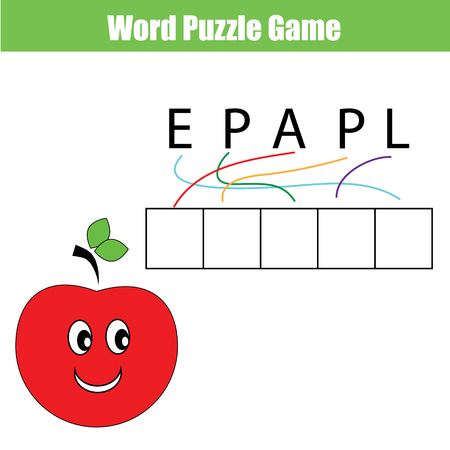 Words puzzle children educational game with maze. Place the letters in right order. Learning vocabulary Illustration