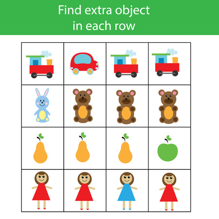 pre school: Find extra object in row. Educational children game. Logic activity for pre school age kids Illustration