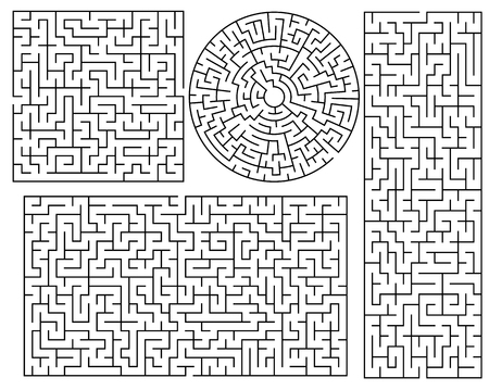 developmental: Vector Maze templates. Circle and square labyrinth sample