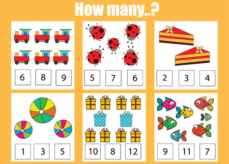 addition: Counting educational children game, kids activity sheet. How many objects task. Learning mathematics, numbers, addition theme