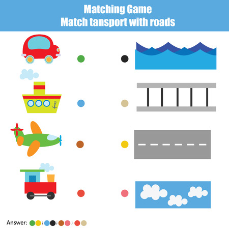 developmental: Match the transport with roads children educational game. Learning transportation theme kids activity