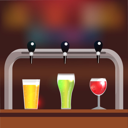 restaraunt: Bar counter with crane and three glasses of beer or cider. Vector illustration, background with place for your text Illustration