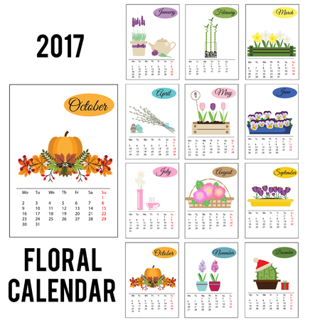 organiser: 2017 year calendar with season flowers. Twelve monthes pages, gardening theme