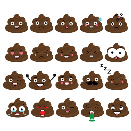 Cute vector poop emoji set. Turd emoticons, isolated design elements, icons for mobile applications, chat and other business