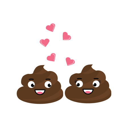 Two cute vector poop character fall in love, have a romantic flirt, chat. Turd emoticons, design elements, icons