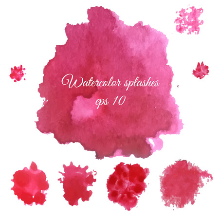 Vector watercolor splashes set. Purple wine abstract blobs, blots design elements isolated on white background