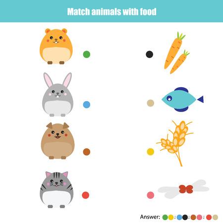 Overeenkomen met de dieren met educatief spel voor kinderen. Leren dieren thema kinderen activiteit