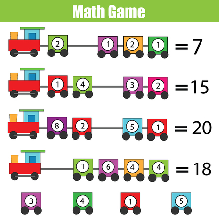 additional training: Mathematics educational game for children. Complete the equation, learning counting, addition Illustration