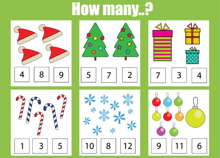 addition: Counting educational children game, kids activity sheet. How many objects task, christmas theme. Learning mathematics, numbers, addition theme Illustration