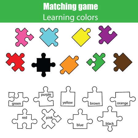 assignment: Educational children game. Learning colors matching puzzle game